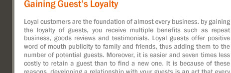 Gaining Guest's Loyalty
