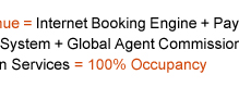 Your Hotel Website + ResAvenue = Internet Booking Engine + Payment Gateway + Global Distribution System + Internet Distribution System + Global Agent Commission Payment System + Search Engine Promotion + Voice Reservation Services = 100% Occupancy