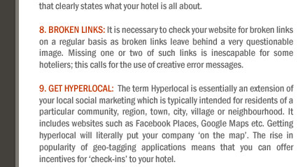Top 10 eCommerce initiatives (tips) for Hotel Websites
