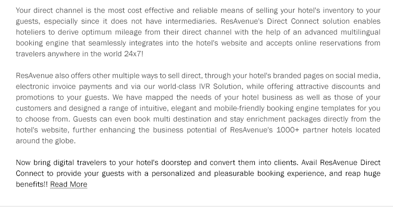 Maximize the Revenues & Selling Opportunities of Your Hotel with ResAvenue Direct Connect