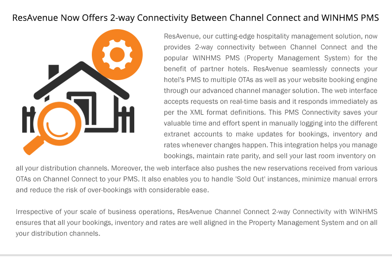 ResAvenue Now Offers 2-way Connectivity Between Channel Connect and WINHMS PMS