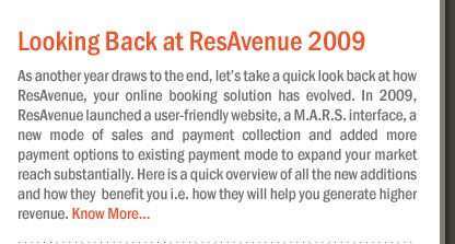 Looking Back at ResAvenue 2009