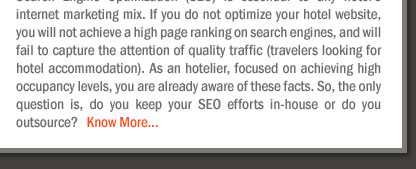 Should you outsource your hotel's Search Engine Optimization or keep it In-house?