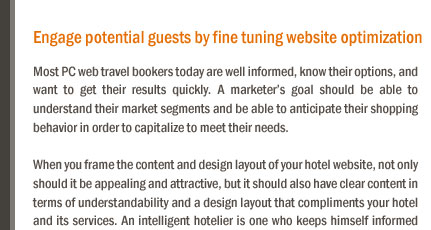 Engage potential guests by fine tuning website optimization