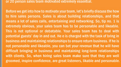 Tips to Motivate Your Sales Team To Get More Heads in Beds