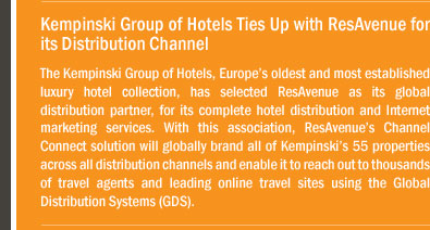 Kempinski Group of Hotels Ties Up with ResAvenue for its Distribution Channel