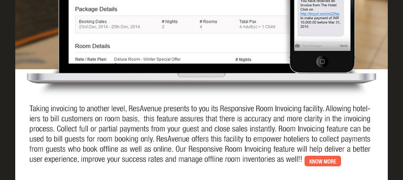Collect payments and close sales instantly with ResAvenue's Responsive Room Invoicing facility
