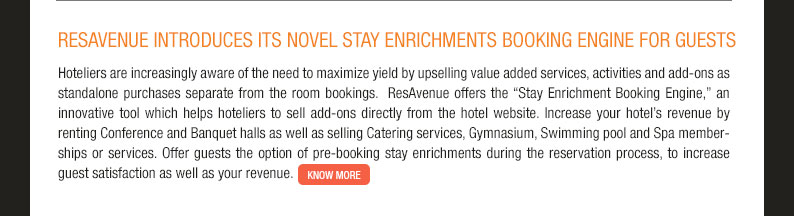 ResAvenue introduces its novel Stay Enrichments Booking Engine for guests