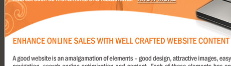 ENHANCE ONLINE SALES WITH WELL CRAFTED WEBSITE CONTENT