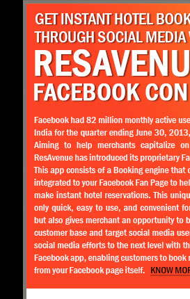 Get Instant Hotel Booking through Social Media with Resavenue's Facebook Connect