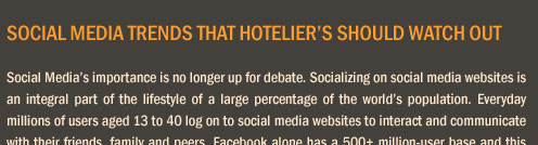 Social Media Trends that Hotelier's Should Watch Out